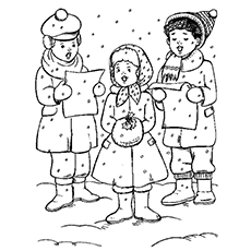 picture of christmas candy cane carols choir coloring pages