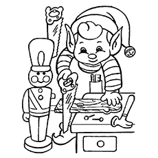 Coloring Christmas Elf to Print
