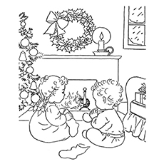Christmas Eve Tree Decorated With Lights Coloring Pages