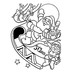 christmas sleigh coloring pages to print - Christmas Coloring Sheets Print