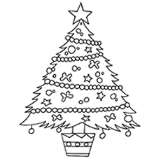 Christmas Tree Decorated with lights Coloring Pages