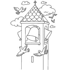 printable church bells coloring pages - Bell Coloring Pages