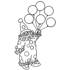 coloring pages of clown with balloons