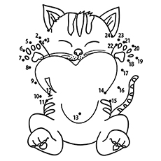 the connect the dots - Kitten Coloring Page