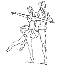 Coloring Pages of Couple Performing Ballet