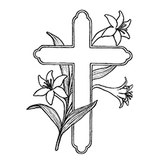 the bible cross covered with lilies coloring page