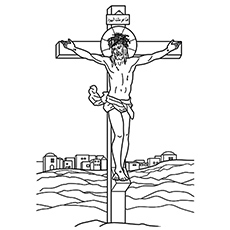 jesus crucifixion on cross easter egg coloring pages