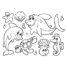 cute water animals in the ocean coloring pages