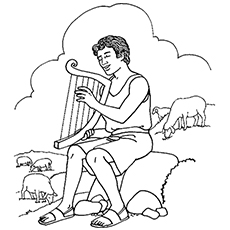 Coloring Pages of David Playing the Harp