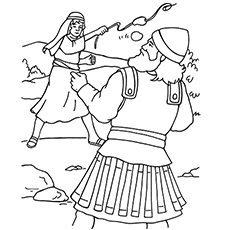 David Throwing the Stones Coloring Pages