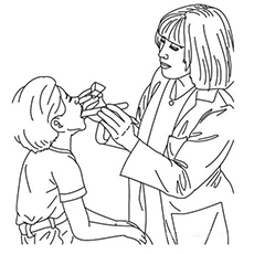 the doctor checking a kid patient - Doctor Coloring Pages