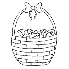 Basket Full Of Easter Egg Coloring Sheet