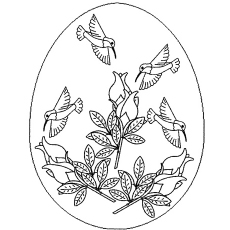 Coloring Sheet Of Easter Eggs With Birds