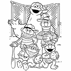 elmo and friends playing baseball coloring pages - Baseball Coloring Pages Printable