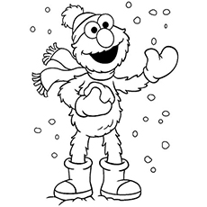 Elmo Enjoying Winter Coloring Pages