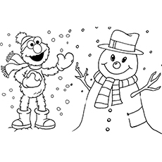Elmo with Snowman Free Printable Sheet to Coloring