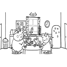 family of peppa pig eating together coloring pages