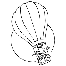 Flying High Away Coloring Page in Hot Air Balloon