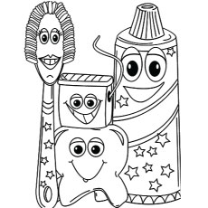 Four Fine Friends Paste Thooth Brush Of Dental Coloring Pages