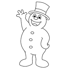 Frosty The Snowman Saying Hi Coloring Pages