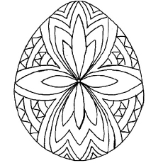 Geometric Pattern On Easter Egg Coloring Sheet To Print