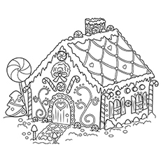 gingerbread house coloring sheet - Printable Christmas Coloring Pages