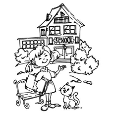 after holidays girl going back to school coloring pages - Coloring Page Of A School