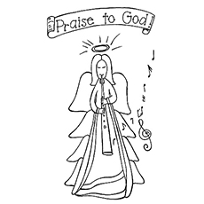 God Praising Angel Printable to Color