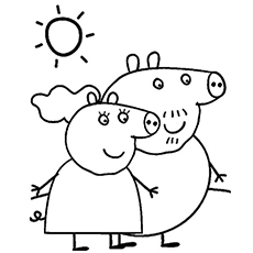 Coloring Pages of Granny Pig and Granpa Pig are two characters in Peppa Pig