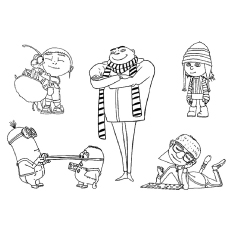 The gru with his gang Coloring Pages