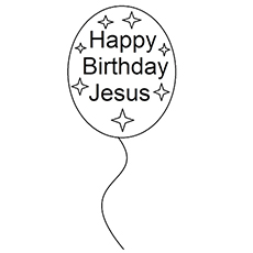 happy birthday jesus written on balloon coloring pages