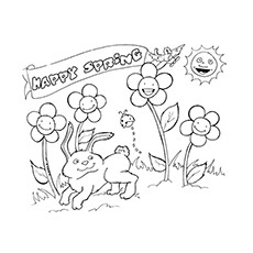 poster wishes happy spring season - Spring Coloring Pages For Kids Printable
