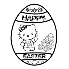 Hello Kitty On Easter Egg Coloring Page