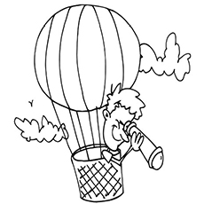 Boy Viewing From Hot Air balloon Coloring Pages