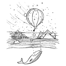 Hot Air Balloon on a Windy Day Coloring Pages