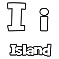 the i for island - I Coloring Page