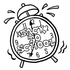 alarm rings as its back to school time coloring pages