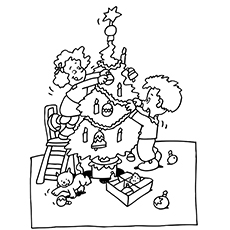 Coloring pages of Kids Decorating Christmas Tree