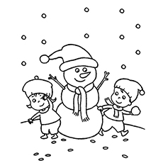 Kids Playing with Snowman Color and Print