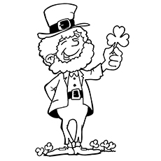 the leprechaun with shamrock - Shamrock Coloring Page