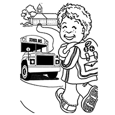 little johnny goes back to school happily after holidays coloring page - School Coloring Pages Printable