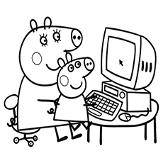 Mama Pig With Peppa Working on Computer Coloring Pages