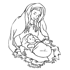 Mary with Jesus Coloring Pages