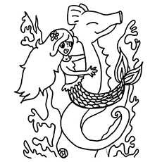Mermaid on Seahorse Printable Coloring Page