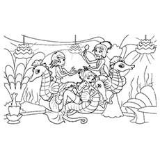 Mermaids and Seahorses Coloring Pages Free Printable