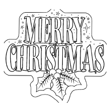 merry christmas banner printable coloring page - Christmas Pages To Color