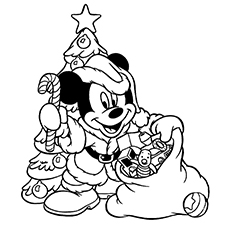 Mickey Mouse Celebrating Christmas Pictures to Color