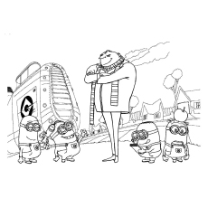 The Minions With Grg Coloring Pages