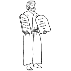Moses Holding 10 Commandments Coloring Pages