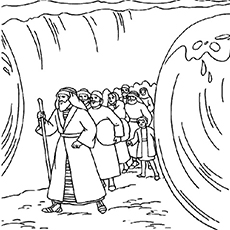 Moses Crosses Red Sea Coloring Page